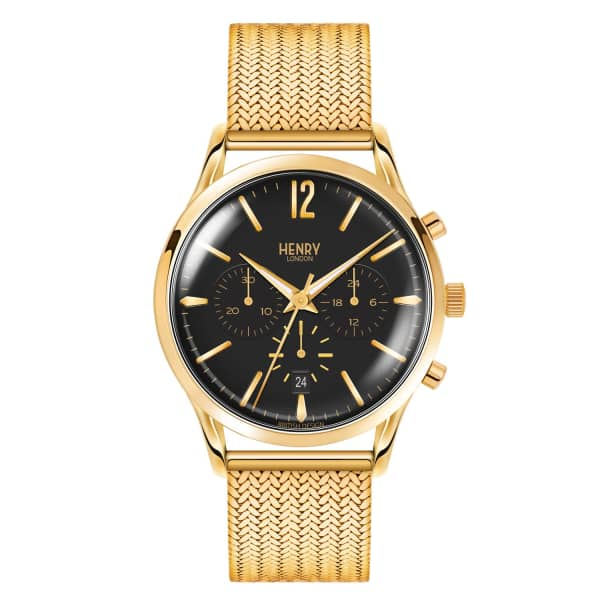 Men'S 41Mm Westminster Black Dial Chronograph Stainless Steel Watch in Gold/ Black