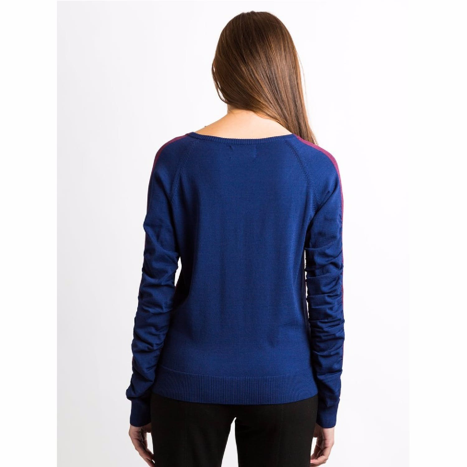 Navy and Wine Color Block V Neck Sweater | NY CHARISMA | Wolf & Badger