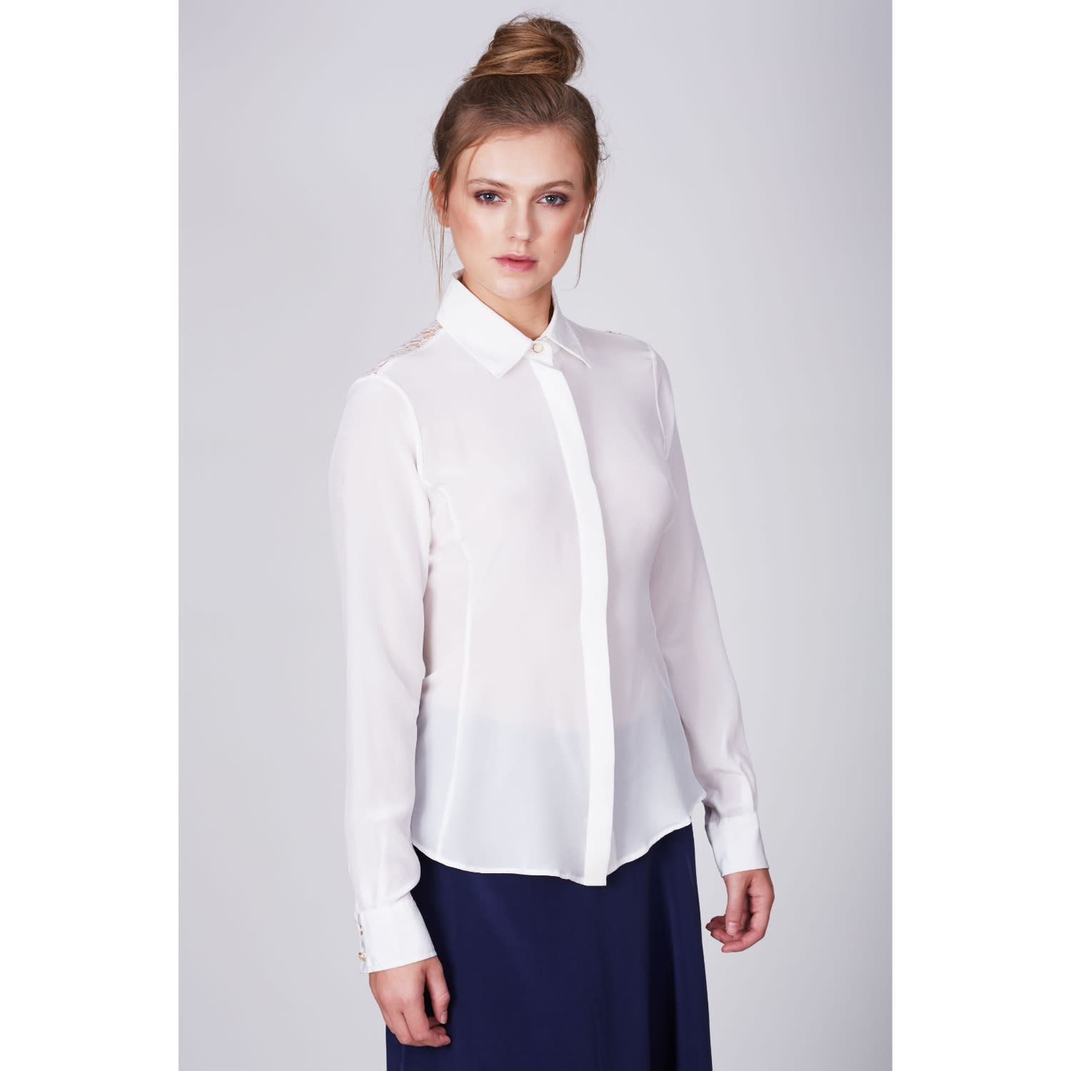 fef898c4f1273b Fitted Silk Shirt White image