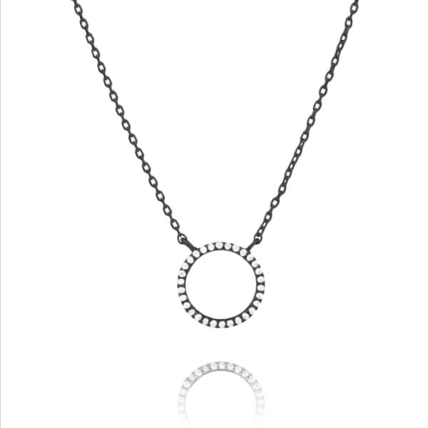 Astrid & Miyu Tuxedo Circle Necklace in Gunmetal