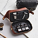 Wandering Soul Black Leather Wash Bag With Zip Bottom image