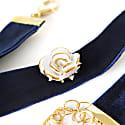 Golden White Cloud Rose Navy Velvet Choker image