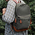 Leather & Canvas Classic Backpack In Forest Green image
