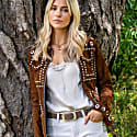 Suede Leather Studded Fitted Biker Jacket Coffee image