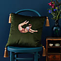 Trapeze Boy Velvet Cushion Lush Meadow Green image