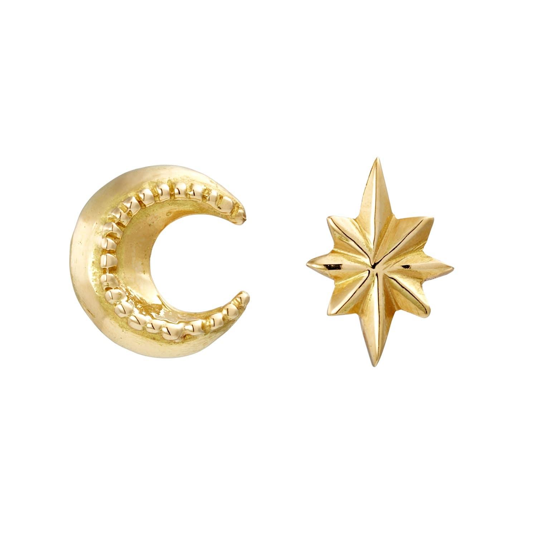 42e3a51bf86bc Mini Moon & Star Stud Earrings by Sophie Harley London