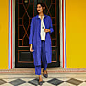 Garment Washed Linen Cutwork Trouser - French Ultramarine Blue image