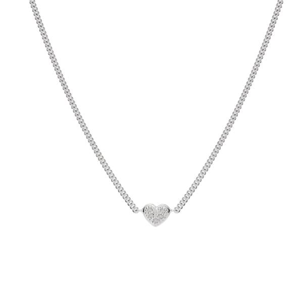Mini Heart White Diamond Necklace