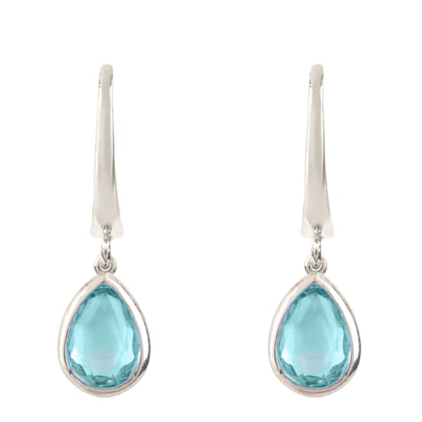 Pisa Mini Teardrop Earring Silver Blue Topaz