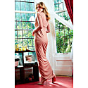 Clara Rose Gold Glittery Plunge Front Knot Floor-Length Dress image