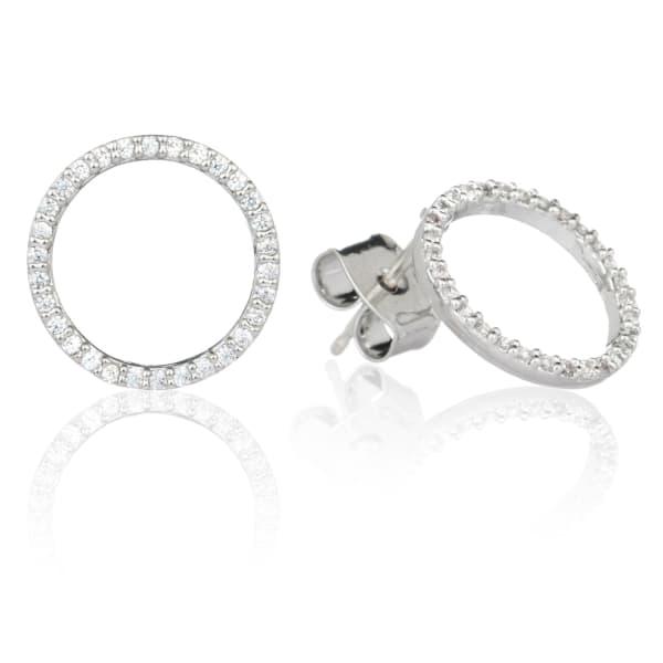 ASTRID & MIYU Tuxedo Circle Stud Earrings in Silver