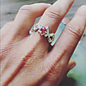 Out Of The Sea Ring Rhodium Plated With Ruby image