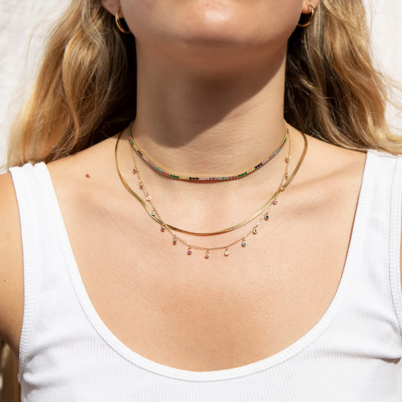 925 Sterling Silver Curb Link Bezel Rainbow CZ Choker Necklace