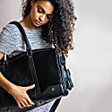 Leather Columbus Duffle Overnight Bag In Ebony Black Pony Hair image
