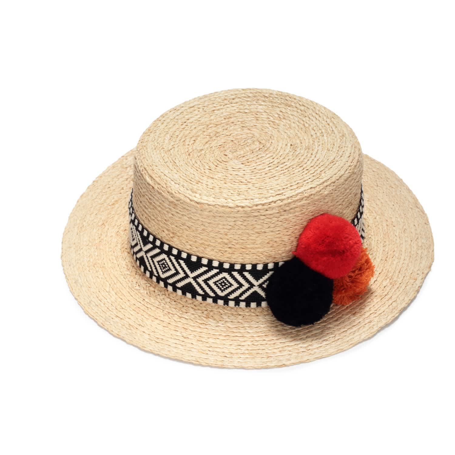 5bf956499cc28 Straw Boater Hat With Pompoms image