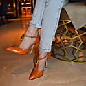 Bejeweled Baby Toffee Leather T-Strap Pumps image