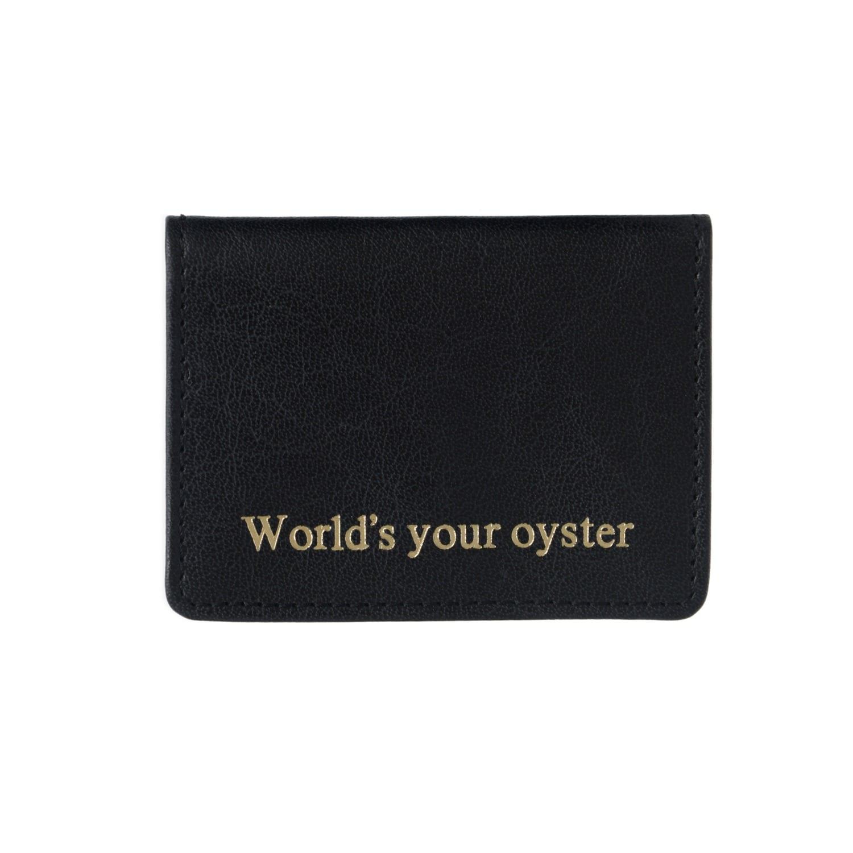 VIDA VIDA - Worlds Your Oyster Black Leather Travel Card Holder