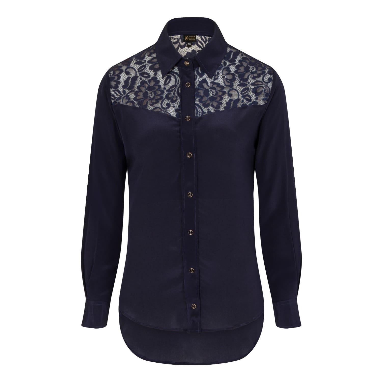Midnight Blue Classic Silk Shirt Sophie Cameron Davies Wolf Badger