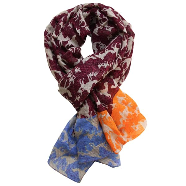 LORDS OF HARLECH Sahara Print Scarf In Mulberry