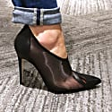 Stella Black Mesh Leather Pumps image