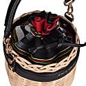 Okordule Black Wickered Basket With Hand Loomed Peshtemal image