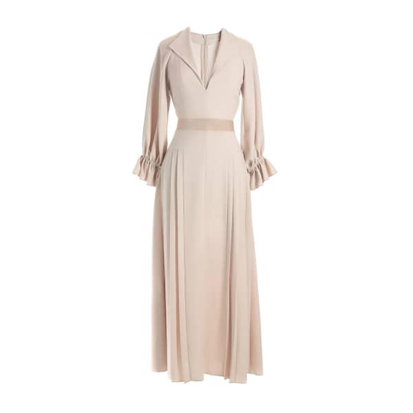 MUSÉE Pleated Crepe Midi Dress