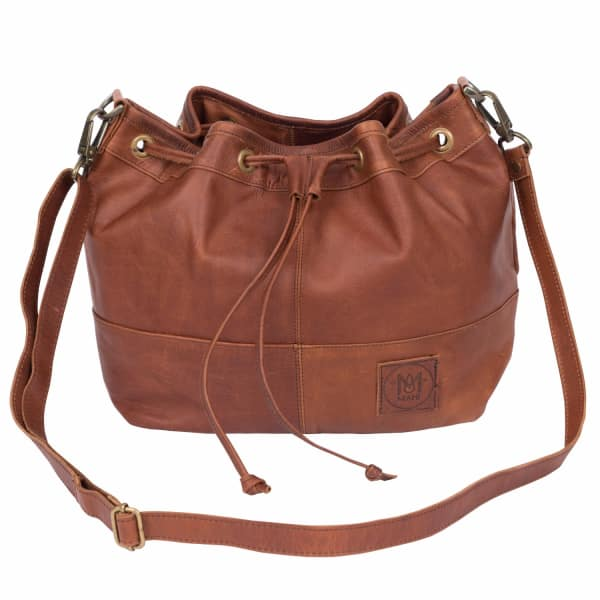 MAHI LEATHER Classic Bucket Drawstring Bag in Vintage Brown Leather