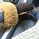 Aviator Brown Shearling Sheepskin Wool & Leather Mittens image