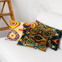 Multicolour Handcrafted Silk Velvet Cushion image
