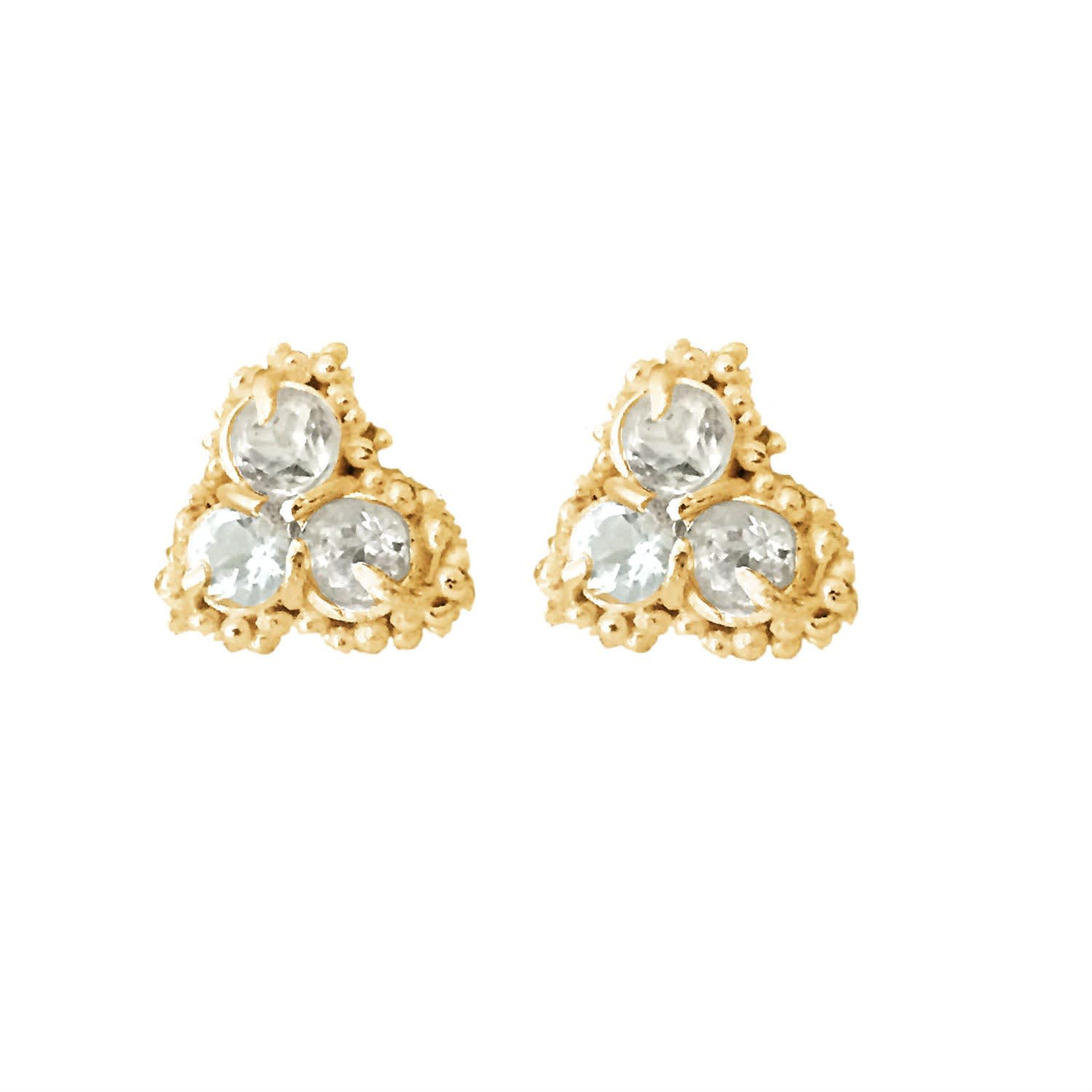ab3965460 Kaia Cluster Stud Earrings With White Sapphires & Yellow Gold | Lily ...