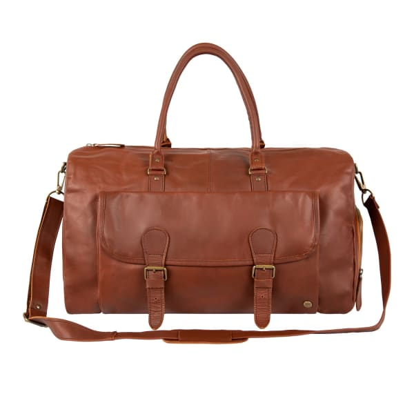 Mahi Leather Brown Leather Overnight Bag With Shoe Compartment