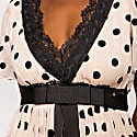 Silk Waistband & Lace Application Dots Dress image