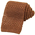 Brown Solid Textured Striped Linen Knitted Tie image