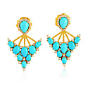18K Gold Earring With Turquoise & Pave Diamond image
