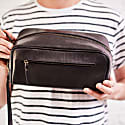 Wandering SoulLeather Wash Bag With Strap in Black image