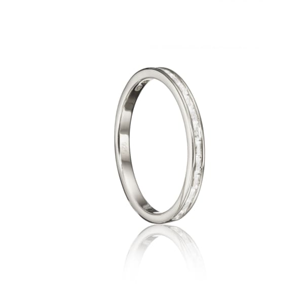 Lily & Roo Sterling Silver Baguette Diamond Style Eternity Ring