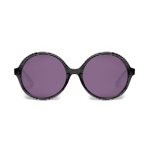 HEIDI LONDON Black Stripe Circular Sunglasses