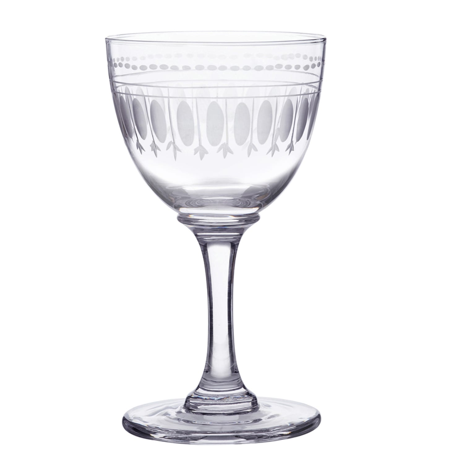 The Vintage List - Six Hand-Engraved Crystal Liqueur Glasses with Ovals Design