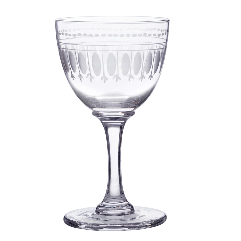 The Vintage List - Six Hand-Engraved Crystal Liqueur Glasses with Ovals Design