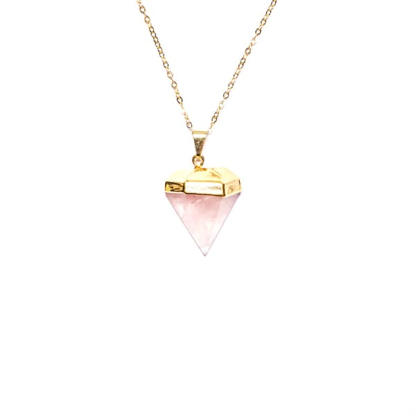 Tiana Jewel Saffire Mini Rose Quartz Gemstone Pendant Diamond Shape