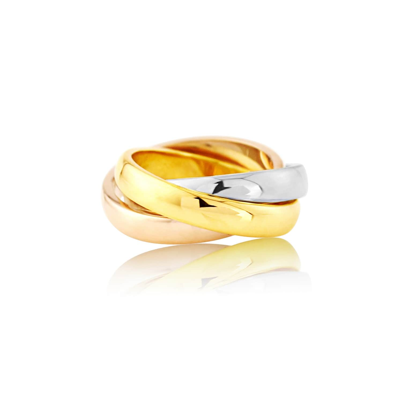 Walton Three Colour 9ct Gold Russian Wedding Ring 3mm Image