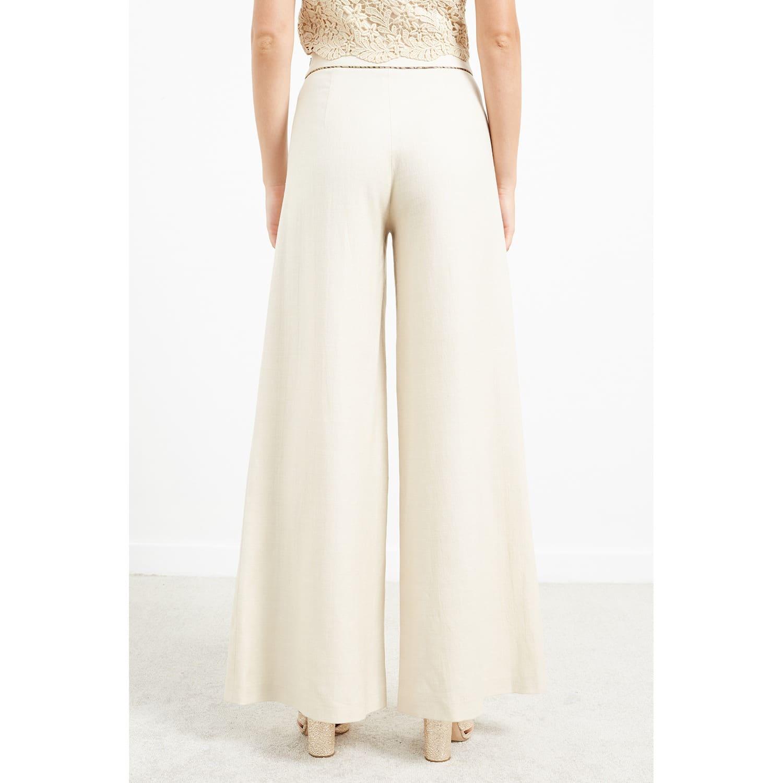 dafaa25082e7 WtR Cream Linen Blend Wide Leg Trousers | WtR | Wolf & Badger