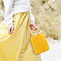 Water Metal Handle Bucket Bag - Yellow image