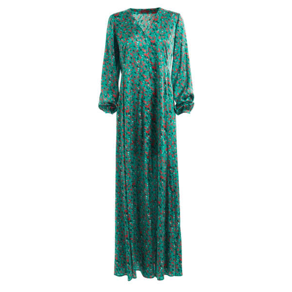 SABRINA TURQUOISE PRINTED SILK LONG SLEEVE MAXI DRESS