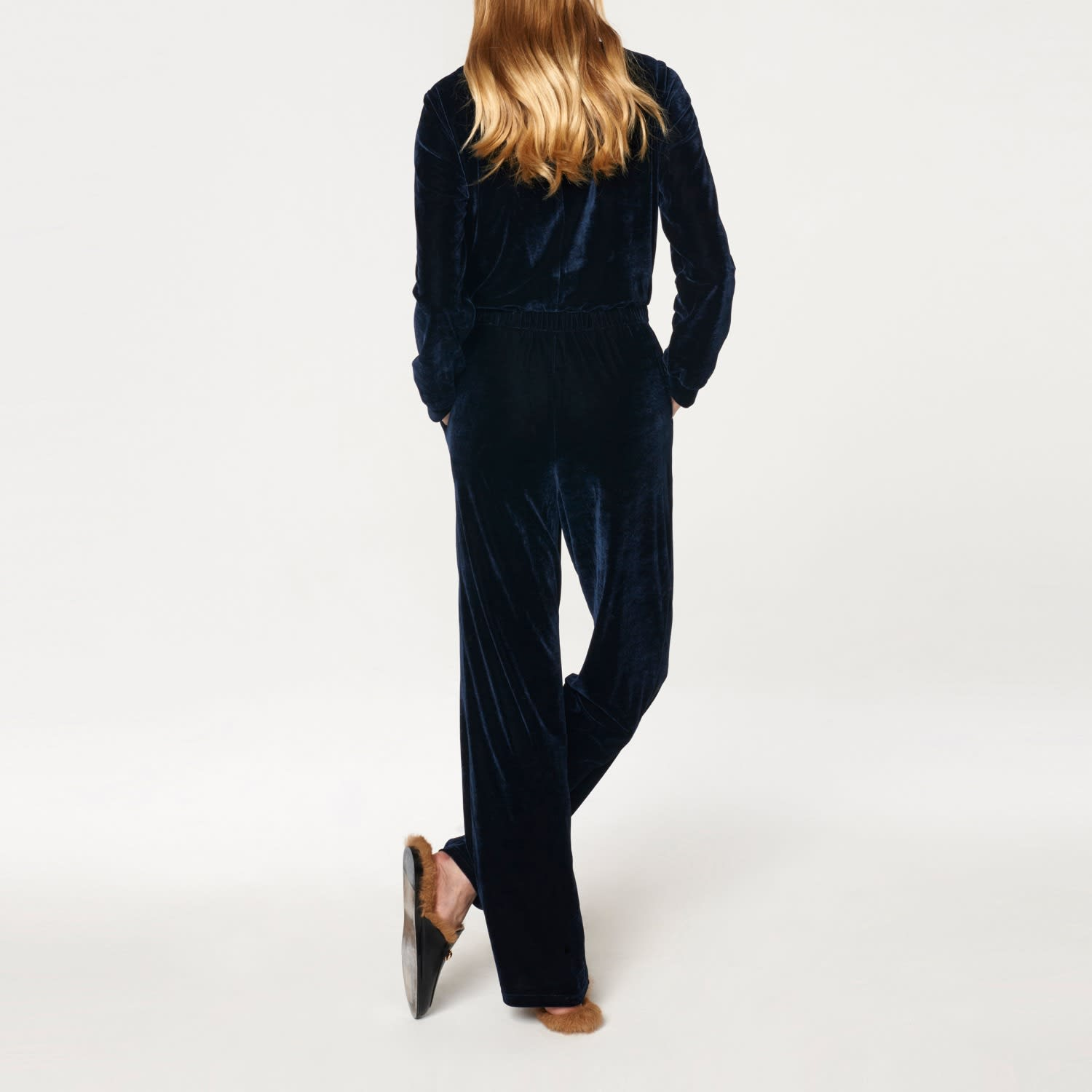 Velvet Jumpsuit With Wrap Front Elastic Waistband In Navy Paisie Wolf Badger