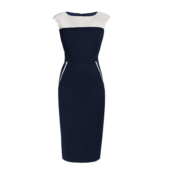 RUMOUR LONDON Kensington Navy & Cream Ribbed Viscose Pencil Dress