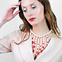 Freshwater Pearls With Red Crystal Statement Necklace An075 image