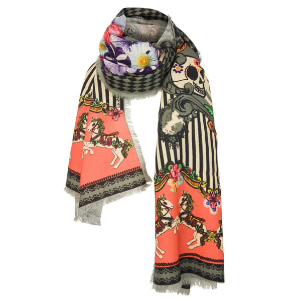 carnival wool scarf helen ruth wolf badger