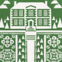 Manor Garden Screen Print in Heritage Green image