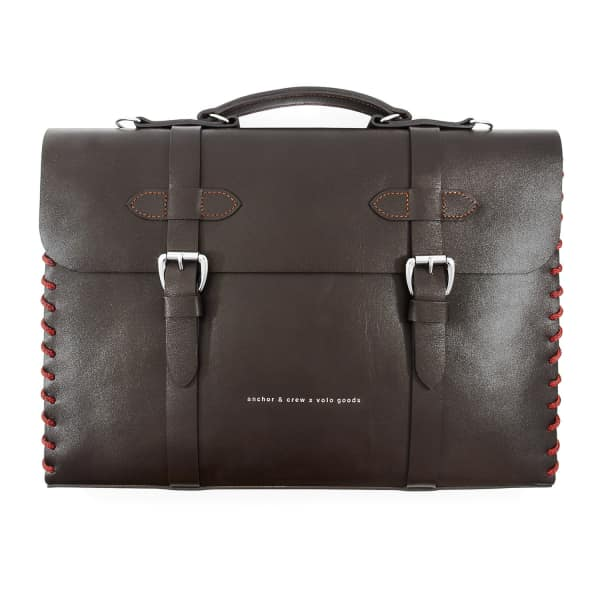 ANCHOR & CREW Deep Brown Rufford Leather and Rope Briefcase